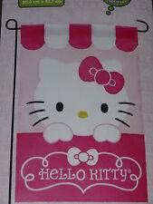"Adorable Pink & White Hello Kitty Garden Flag 12""X18""-Free Shipping-New In Pkg."