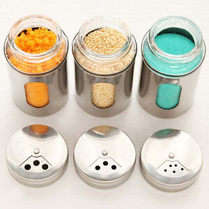 Salt Pepper Sugar Shaker Dredge Dispenser Bottle Can Stainless Steel Kitchen New