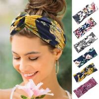 2020 Women Twisted Knotted Bohemia Floral Wide Stretch Hair Band Floral Headband