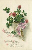 DB Embossed Postcard E446 Best Wishes for the New Year Four Leaf Clover Bouquet