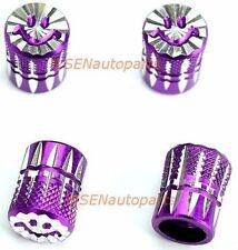 4 x Valve Cap Purple Wheel Tyre Stem Air Cover Screw Caps Car Ute Bike SmileyF