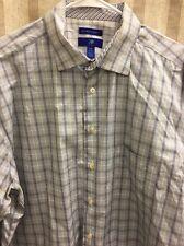 EGARA Light Non-Iron Modern Blue/Brown Check Flip Cuff LS Dress Shirt Mens XXL