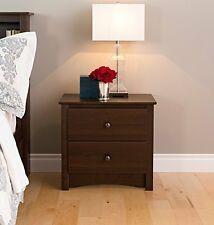 Prepac Fremont 2-Drawer Night Stand Espresso Durable Bedside Bedroom Furniture