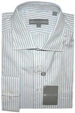 $225 HICKEY FREEMAN SATIN WHITE BLUE DRESS SHIRT 17 R