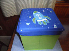 Kids Spaceship Storage Box with Cushioned Lid Rocket Ottoman