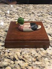 Wooden Mallard Duck Trinket Box Albert E Price card holder