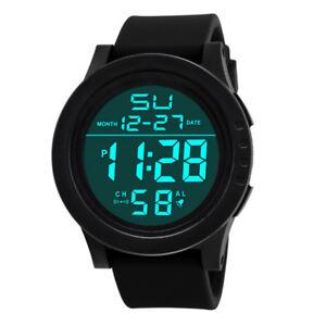 Men's Women Digital Sports Watch LED Screen Large Screen Military Black UK Stock