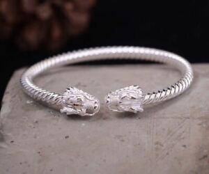 Certified 999 Silver Twisted Dragon Adjusted Head Bracelet Women Gift