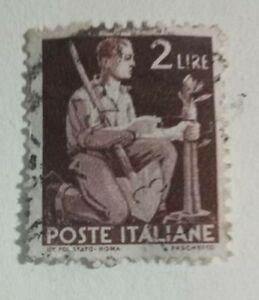 FRANCOBOLLO POSTE ITALIANE 2 LIRE CON FILIGRANA A RUOTA