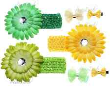 Green and Yellow baby headbands and clips – 10 piece baby girl starter set
