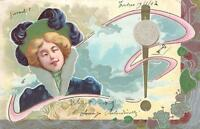 1902 GENUINE LOVELY LADY with FINE ILLUSTS ART NOUVEAU POSTCARD posted in ITALY