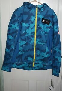*NEW* Spyder Slalom hoodie -US Ski Team 2020-21, Men's Large Blue Camo L Rad-pad