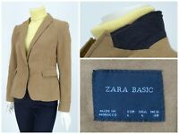 Womens Zara Basic Blazer Jacket Brown Cotton Coat Size L