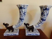 Maitland Smith Cornucopia Horns of Plenty Vintage Blue White Porcelain Pair
