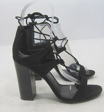 """Black 4.5"""" Block High Heel Open Toe Lace Up Sexy Shoes Size 9"""