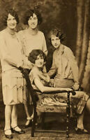 c1920 Four Women w/ Incredibly Wavy Hair Styles Pose Together For Portrait RPPC