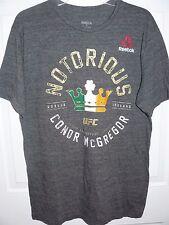 NEW Men's Conor McGregor UFC Reebok Notorious Full Circle T-Shirt (MEDIUM) Gray