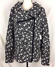 Madison Womens Cardigan Sweater Coat Jacket L Black White Geometric Cowl Moto