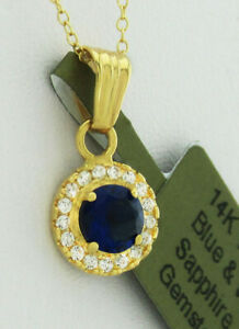 AAA BLUE & WHITE SAPPHIRES PENDANT NECKLACE 14K GOLD * New With Tag *