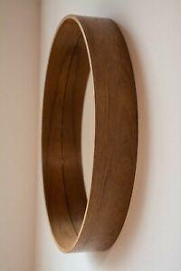 round wall mirror natural wood veener teak 23,5 in