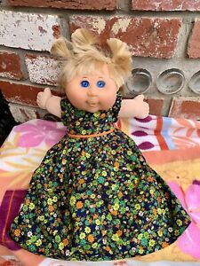 Cabbage Patch Doll Blue Eyes Blonde Hair 2004 Signed Flower Dress matching Pants