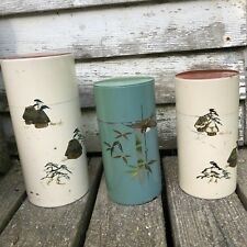 Vintage JAPANESE Hand Painted Asian Bird Huts Tea Caddy Tin Canister 3pc Set