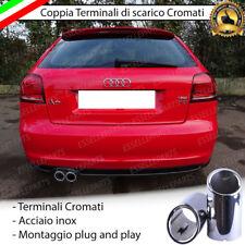 COPPIA TERMINALE SCARICO CROMATO LUCIDO ACCAIO INOX AUDI A3 8P SCARICO DOPPIO