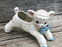 VTG 50's National Potteries Ceramic Lamb Vase Planter Anthropomorphic Baby Decor