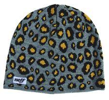Neff Men's Ski Snowboard Grey/Orange Cheato Cheetah Animal Print Beanie Hat NWT