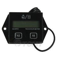 Black Digital Hour Meter Tachometer Gauge For 2 / 4 Stroke Gas Engines Dirt Bike