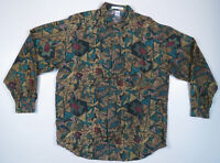 NWOT Vintage 80s 90s Silk Abstract Geometric Mens Long Sleeve Button Up Shirt M