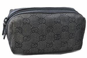 Authentic GUCCI Pouch GG Canvas Leather 29596 Black D7196