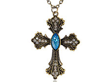 Gold Tone Blue Sapphire Cross Hanging   Pendant Necklace Wedding