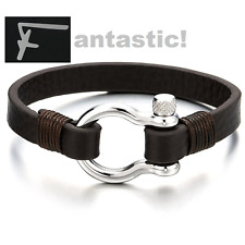 Luxury Polished Steel Bracelet with Brown Leather Wear with Ferragamo items