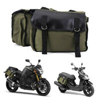 Double Luggage Rack Motorcycle Side Bags Touring Saddle Canvas Panniers Luggage
