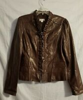 Women's Dress Barn Jacket Coat with ruffle Zipper Front Pockets Size Large Brown