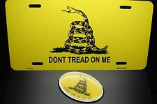 DONT TREAD ON ME METAL LICENSE PLATE AND 3D EMBLEM STICKER SET The Gadsden Flag