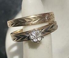 14K Solid Gold Vintage Wedding Engagement Ring Set Diamonds