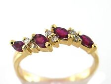 0.70 CT Natural Ruby & Diamond Lady's Ring VS/G 14K Yellow Gold