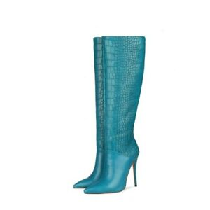 Women Pointy Toe Stilettos Heel Pull On Knee High Boots Party Alligator Pinted L