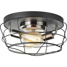 Flush Mount Lighting 14 in. 2-Light Graphite Dimmable With Frosted Glass Shade