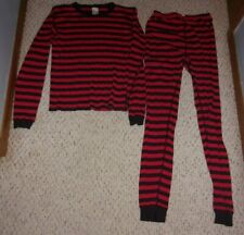 Hanna Andersson Red & Black Striped Pajamas, Size 160 or 14 - 16, Fair