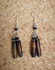 Dark Brown Bone Drop Hook Earrings with Black Maasai Beads Eco Ethical Jewellery