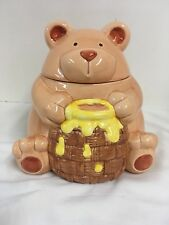 """Honey Bear Cookie Jar By Russ Berrie and Co. 8.5""""T (rare side)"""
