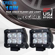 2x 4 inch 18W CREE LED Work Light Bar Flood Off-road Driving Truck 4WD 12V 24V