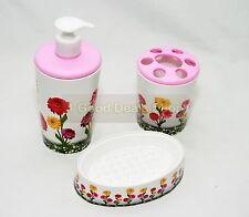 3pc Set accessori bagno Tumbler Scopino LOZIONE Fiore Rosa Coperchio