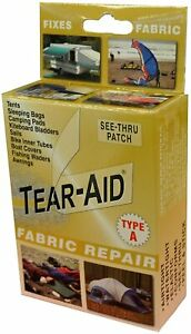 Tear Aid Type A Fabric Repair Patch Kit Tents Canvas Rubber