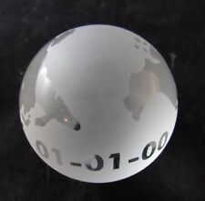 """Year 2000 Millennium World Earth Globe Etched Crystal World 100mm 3"""" Paperweight"""