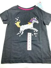 Size 4/5 Girls Shirt XS top Unicorn Sequin children kids charcoal short sleeve