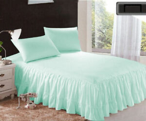 """1 Piece 800tc Egyptian Cotton Bottom Ruffle Bed Spread 15"""" drop all size & color"""